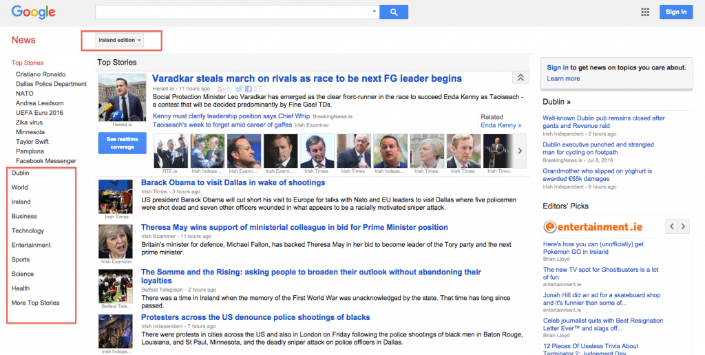 Google News Ireland