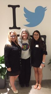 Joanne Sweeney Burke, Sophie Burke and Marialice Curran at the Digital Citizenship Summit at Twitter Headquarters in San Francisco