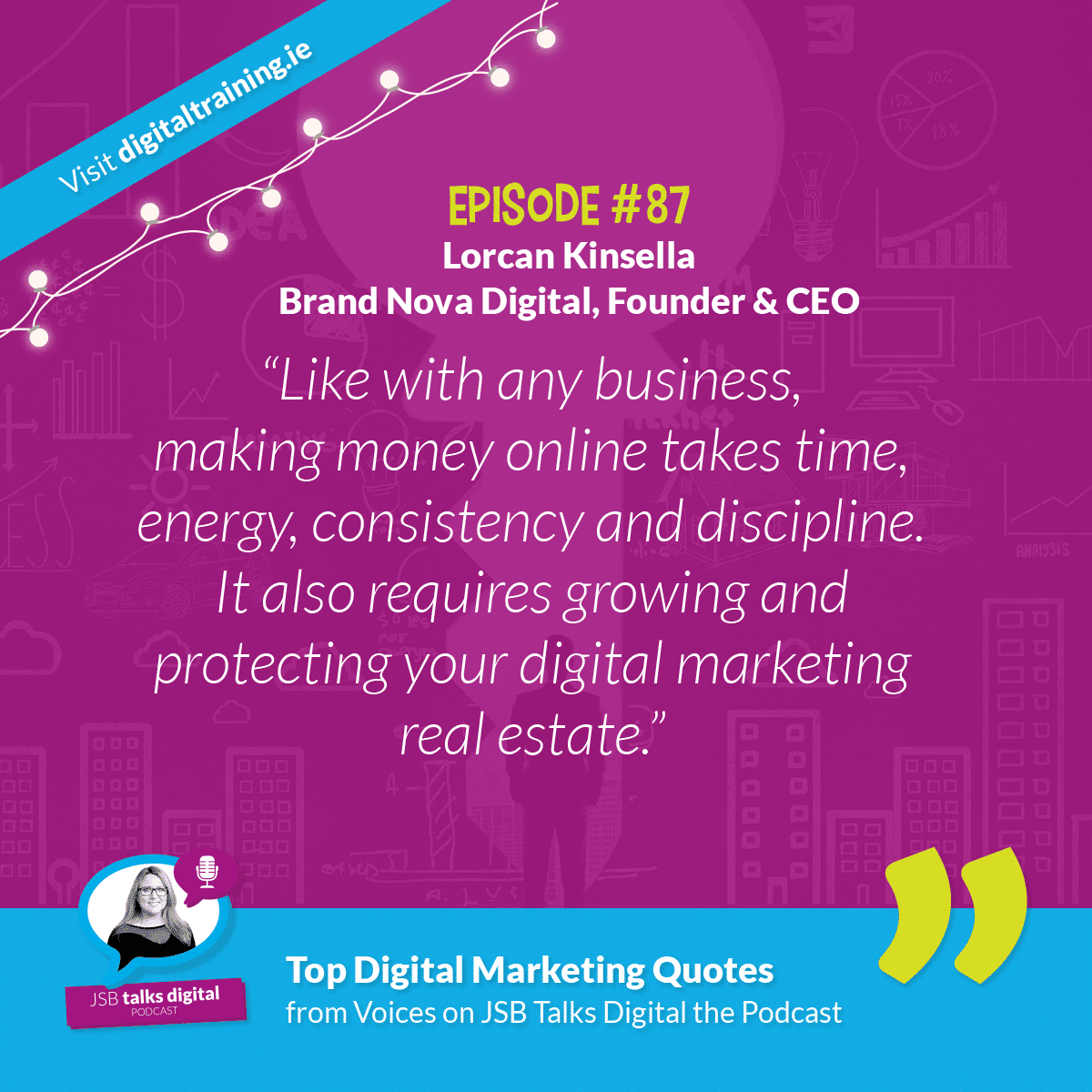 """""""Like with any business, making money online takes time, energy, consistency and discipline. It also requires growing and protecting your digital marketing real estate."""" - Lorcan Kinsella"""
