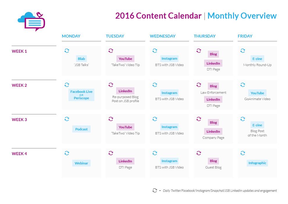 Digital Training Institute Content Calendar