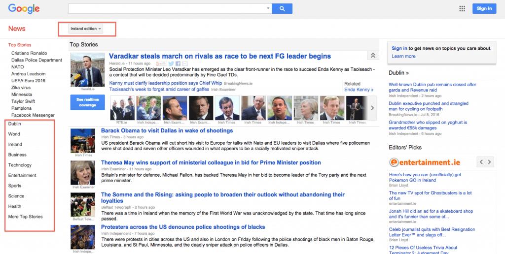 Google News Ireland