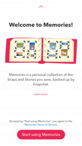 Snapchat Memories Welcome Screen