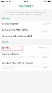 Snapchat settings Save To