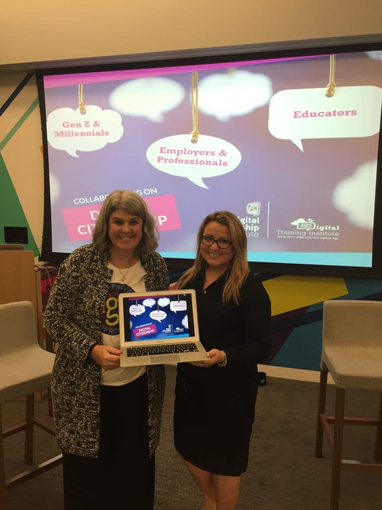 Dr. Marialice Curran (left), founder and CEO of Digital Citizenship Institute pictured with CEO of Digital Training Institute, Joanne Sweeney-Burke at the Digital Citizenship Summit which took place at Twitter Headquarters in San Francisco on Friday 25th October 2016.