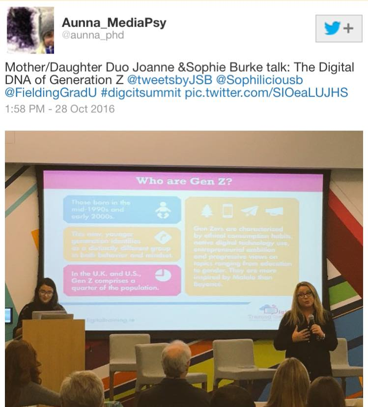 Sophie Burke and Joanne Sweeney-Burke speaking at the Digital Citizenship Summit in San Francisco