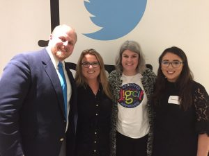 Derek Larson, Joanne Sweeney-Burke, Marialice Curran and Sophie Burke attending the Digital Citizenship Summit in Twitter Headquarters in San Francisco