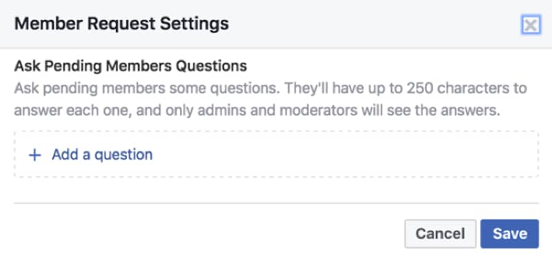 Facebook Member Request Settings