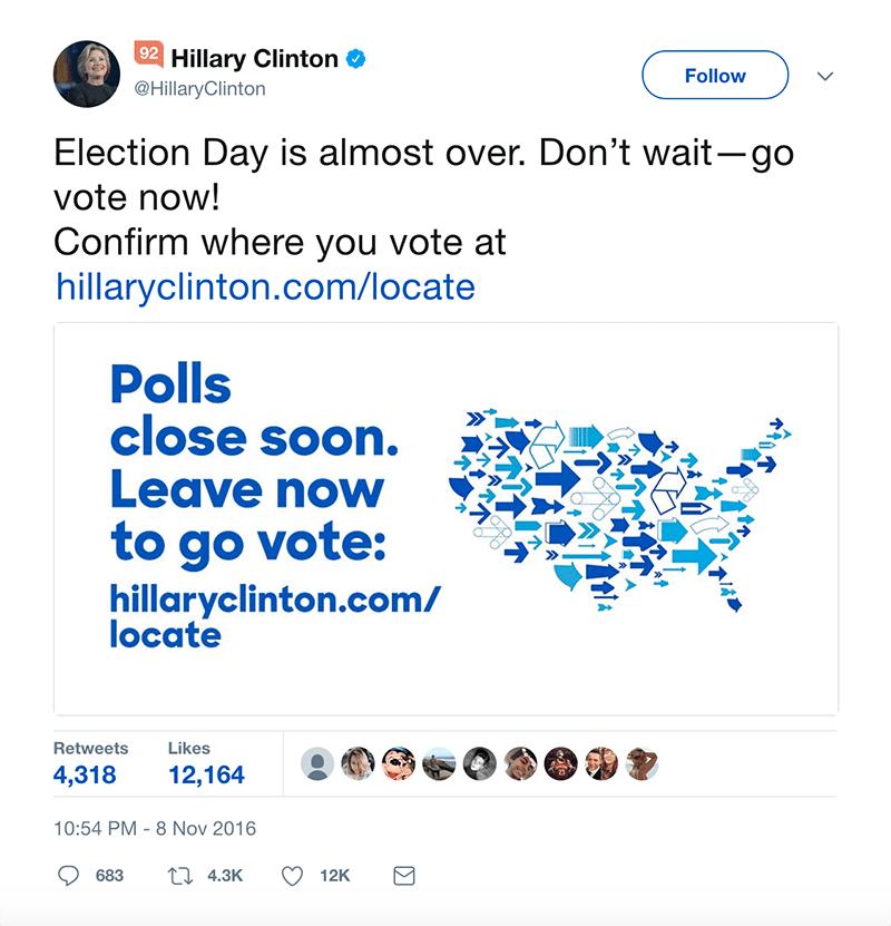 Hillary Clinton Vote CTA Example